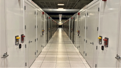 the image describes the view of racks inside compartmentalized and separated datacenter used for private cloud hosting or infrastructure as a service advanced hosting