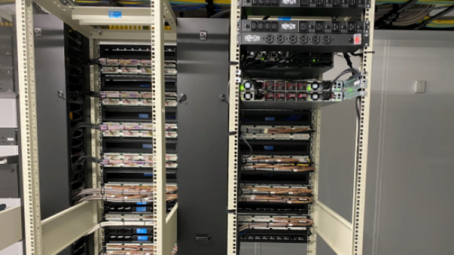 the image describes the view of rack cabinets for client IaaS solutions with our equipment along side with client equipment used infrastructure as a service with advanced smart hands and infrastructure hosting